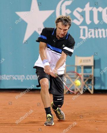 Stock Image of Swedish Mats Wilander Returns the Ball During Tennis Senior Master Cup Against Us John Mcenroe Played at Roman Bridge Tenis Club in Marbella Malaga Andalusia Spain 23 September 2016 Spain Marbella