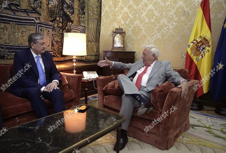 Spanish Acting Foreign Minister Jose Manuel Garcia-margallo (r) Chats with Slovenian Former President and Candidate For the Post of Secretary-general of the United Nations Danilo Turk During Their Meeting at Santa Cruz Palace in Madrid Spain 21 July 2016 Spain Madrid