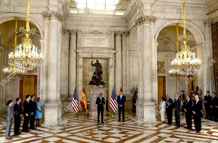 Us President Barack Obama (cl) Delivers His Speech in Presence of Spain's King Felipe Vi (c-r); (r-5-r) Spanish Ambassador to the United States Ramon Gil-casares Head of Spanish Royal Household Jaime Alfonsin Spanish Acting Defence Minister Pedro Morenes Acting Foreign Minister Jose Manuel Garcia-margallo and Acting Deputy Prime Minister Soraya Saenz De Santamaria; (l-5-l) Director of Us National Security For the European Union Amy Dove Director For European Affairs on the National Security Council Charles a Kupchan Press Secretary of the White Housem Josh Earmest Us Ambassador to Spain James Costos and Us National Security Advisor Susan Rice During Their Meeting at the Royal Palace in Madrid Spain 10 July 2016 Obama Will Hold a Meeting Later in the Day with Spanish Acting Prime Minister Mariano Rajoy and the Opposition Leaders Afterwards He Will Visit Spanish-us Rota Naval Station to Meet Some 3 500 Us Soldiers Prior to Departing to the United States Us President Has Reduced His Visit to Spain Due to the Week of Violence His Country Underwent Spain Madrid