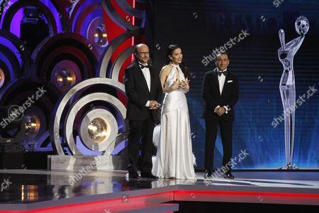 Hosts of the Ceremony (l-r) Natalia Oreiro Santiago Segura and Adal Ramones Speak During the Platino Ibero-american Film Awards in Punta Del Este Uruguay 24 July 2016 Uruguay Punta Del Este