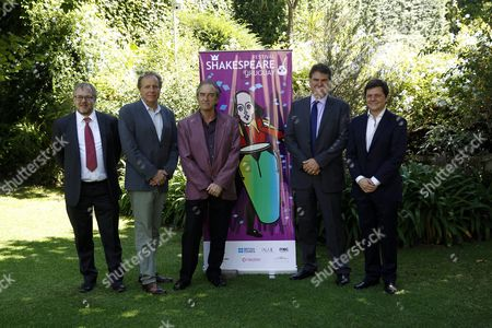 Director of British Council For Uruguay Graham Stanley (l) Us Shakespearean Academic James Shapiro (2l) British Actor George Irving (c) the British Ambassador in Uruguay Ben Lyster-binns (2r) and the Director of the Festival Patricio Orozco (r) Attende to the Launch of Uruguay Shakespeare Festival at the Residence of the British Ambassador in Montevideo Uruguay on 29 February 2016 Uruguay Shakespeare Festival Begins with the Participation of Figures From Uk and Spain to Commemorate the Fourth Centenary of the Death of Shakespeare Which Coincides with the Death of Miguel De Cervantes who Will Also Be Remembered Uruguay Montevideo