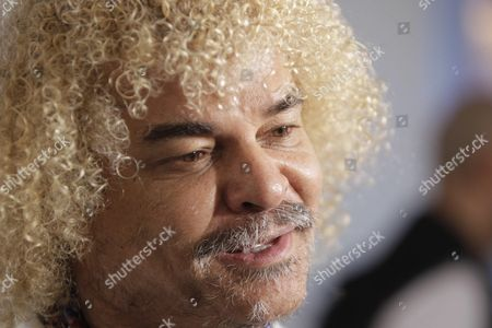 Colombian Former Soccer Player Carlos Valderrama Participates in a Press Conference Before the Alvaro Recoba's Farewell Soccer Game in Montevideo Uruguay 31 March 2016 at the Game Will Play Former Soccer Players Juan Roman Riquelme Carlos Valderrama Christian Vieri Juan Sebastian Veron Javier Zanetti Ivan Zamorano and Francesco Toldo Uruguay Montevideo