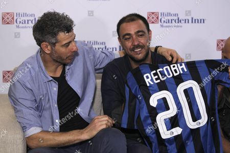 Italian Former Soccer Player Francesco Toldo (l) and Uruguayan Alvaro Recoba (r) Participate in a Press Conference Before the Alvaro Recoba's Farewell Soccer Game in Montevideo Uruguay 31 March 2016 at the Game Will Play Former Soccer Players Juan Roman Riquelme Carlos Valderrama Christian Vieri Juan Sebastian Veron Javier Zanetti Ivan Zamorano and Francesco Toldo Uruguay Montevideo