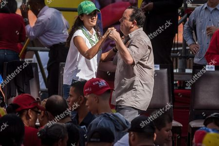 Venezuelan Minister For Food Rodolfo Marcos Torres (r) Dances with the Minister For Urban Agriculture Lorena Freitez (l) During a Gathering to Support the Production and Supply Local Committees (clap in Spanish) at the Miraflores Palaces Government Headquarters in Caracas Venezuela 08 June 2016 Government Supporters Took Part in a March Supporting the Clap Entities Aimed to Supply the Goods Which Are out of Stock in Markets Clap Systems Have Been Criticized by the Opposition Venezuela Caracas