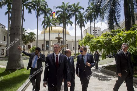 Spanish Former Minister of Justice Alberto Ruiz Gallardon (2-l) and Lawyer Javier Cremades (2-r) Walk in the Federal Palace of the National Assembly in the City of Caracas Venezuela 21 June 2016 Gallardon and Cremades who Are in Venezuela to Join the Defense Team of Leopoldo Lopez Ask Venezuelan Parliament to Guarantee Human Rights of Political Prisoners Venezuela Caracas
