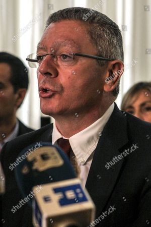 Former Spanish Justice Minister Alberto Ruiz Gallardon Talks During a Press Conference in Caracas Venezuela on 22 June 2016 Gallardon and Spanish Lawyer Javier Cremades Presented a Manifest Signed by More Than a Thousand International Jurists in Which They Demand the Freedom of the Venezuelan Opposition Leader Leopoldo Lopez in Prision Since 2014 Venezuela Caracas