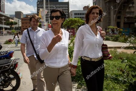 Antonieta Mendoza (l) and Diana Lopez (r) Mother and Sister of Opposition Leader Leopoldo Lopez Arrive at the Surroundings of the Palace of Justice in Caracas Venezuela 22 July 2016 the Appeal Hearing of Leopoldo Lopez who Has a 14-year Conviction For Public Incitement Conspiracy Property Damage is Taking Place Today at the Palace of Justice Venezuela Caracas