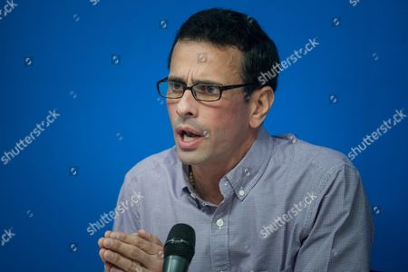 Stock Image of Venezuelan Opposition Leader and Current Governor of Miranda Venezuela Henrique Capriles Radonski Speaks During a Press Conference in Caracas Venezuela 05 May 2016 Capriles Radonski a Two-time Candidate For the Venezuelan Presidency Warned That a Protest Will Be Called Monday if the National Electoral Council Did not Initiate the Next Steps to Begin Recall Proceedings on the Presidency of Nicolas Maduro Venezuela Caracas