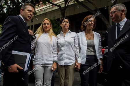Lilian Tintori (2-l) Wife of Venezuelan Opposition Leader Leopoldo Lopez Accompanied by Relatives of Her Husband and Former Spanish Minister of Justice Alberto Ruiz Gallardon (l) and Spanish Lawyer Javier Cremades (r) Outside the Justice Palace in Caracas Venezuela 20 June 2016 the Appeal Audience of Leopoldo Lopez Sentenced to Almost 14 Years in Prison For Violence During a March was Suspended According to Media Reports Venezuela Caracas