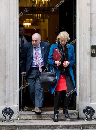 Environment, Food and Rural Affairs Secretary Andrea Leadsom leaving Downing Street with Robert Halfon after a cabinet meeting
