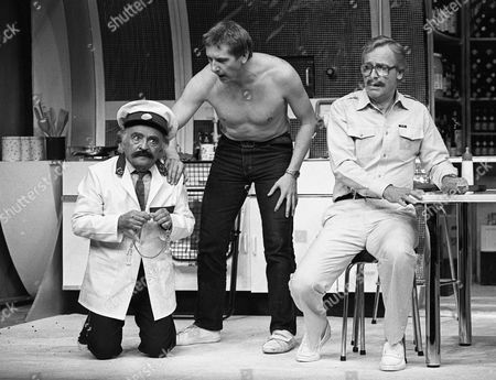 L to R Kenneth Connor, Christopher Driscoll and Nicholas Parsons