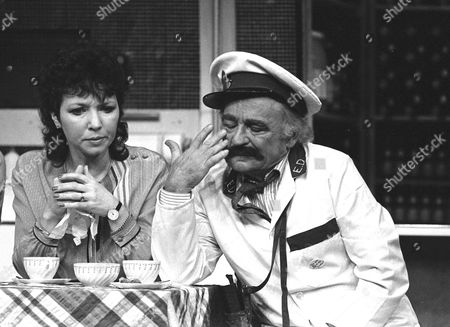 Dilys Watling, appearing as Deidre Blake and Kenneth Connor as Clive Patel