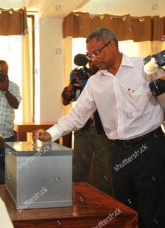 Cape Verde Prime Minister Jose Maria Neves Casts His Ballot at a Polling Station During the Legislative Elections in Cidade Da Praia Cape Verde 06 February 2011 the Islands Nation Off the West Coast of the African Continent Holds Legislative Elections on Sunday with Some 310 000 Cape Verdeans Called to the Polls to Vote For a New 72-seats Parliament Cape Verde Cidade Da Praia
