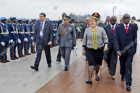 President of Chile Michelle Bachelet (c) Review the Honor Guard During Welcoming Ceremonies in Maputo Mozambique 11 August 2014 She Will Be Meeting in Maputo with Counterpart Armando Guebuza Before Flying to Luanda For a Two-day Official Visit Mozambique Maputo