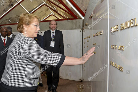 President of Chile Michelle Bachelet Visits the Tomb of the Late First President of Mozambique Samora Machel Inside the Tomb of the Mozambican Heroes in Maputo Mozambique 11 August 2014 She was Later Meeting in Maputo with Counterpart Armando Guebuza Before Flying to Luanda Later in the Day For a Two-day Official Visit Mozambique Maputo