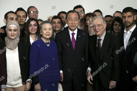 The United Nations Secretary-general Ban Ki-moon (c) Flanked by His Wife Yoo Soon-taek (c-l) and Former Portuguese President Jorge Sampaio (c-r) During a Meeting with Syrian Students Living and Studying in Portugal Lisbon Portugal 12 May 2016 Portugal Lisbon