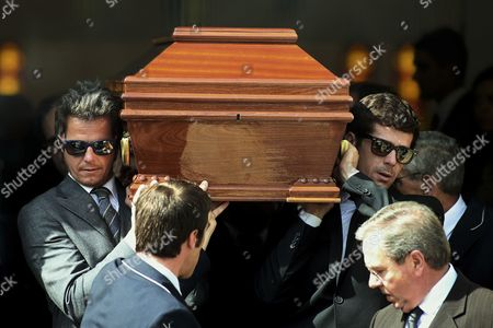Grandsons of Late Portuguese Director Manoel De Oliveira Ricardo Trepa (l) and Jorge Trepa (r) Carry the Coffin During the Funeral Ceremonies in Agramonte Cemetery Porto Portugal 03 April 2015 Portuguese Director Manoel De Oliveira was the Oldest World's Still Active Filmmaker Has Died Aged 106 Portugal Porto
