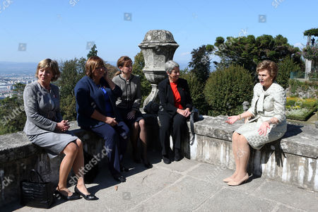 (l-r) German First Lady Daniela Schadt Poland's First Lady Anna Komorowska Hungarian First Lady Anita Herczegh Austrian First Lady Margit Fischer and Portugal's First Lady Maria Cavaco Silva Pose For a Photo During the Visit to Bom Jesus in Braga Portugal 30 September 2014 the Arraiolos Group Gathers Nine Eu Countries: Germany Austria Finland Hungary Latvia Poland Portugal Bulgaria and Estonia This Year Meeting is Dedicated to the Themes of Energy Immigration Investigation and Innovation Portugal Braga