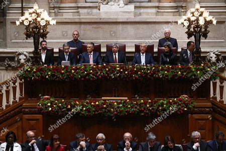 Portuguese President-elect Marcelo Rebelo De Sousa (c-r) is Accompanied by Outgoing President Anibal Cavaco Silva (c-l) and Assembly President Eduardo Ferro Rodrigues (c) During the Swearing Ceremony at Portuguese Parliament in Lisbon Portugal 09 March 2016 Portugal Lisbon