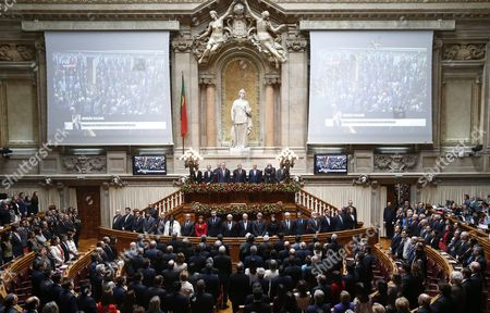 President-elect of Portugal Marcelo Rebelo De Sousa (c-r) Accompanied by Outgoing President Anibal Cavaco Silva (c-l) and Assembly President Eduardo Ferro Rodrigues (c) During the Swearing Ceremony at Portuguese Parliament in Lisbon Portugal 09 March 2016 Portugal Lisbon