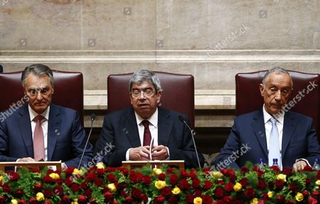 Marcelo Rebelo De Sousa (l) Attends His Swearing-in Ceremony As President with Assembly President Eduardo Ferro Rodrigues Eduardo Ferro Rodrigues (c) and Outgoing President Anibal Cavaco Silva at the Portuguese Parliament in Lisbon Portugal 09 March 2016 Portugal Lisbon
