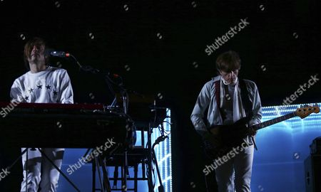 French Musicians Jean-benoit Dunckel (l) and Nicolas Godin (r) of the Musical Duo Air Perform at the Primavera Sound Festival in Porto Portugal 11 June 2016 the Festival Will Run From 9 to 11 June Portugal Porto