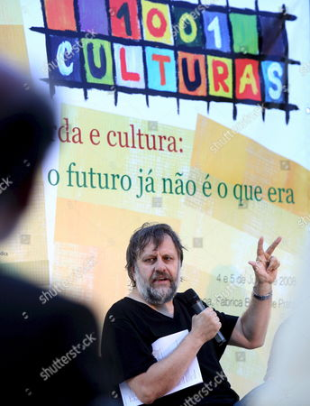 Slovenian Philosopher Slavoj Zizek Delivers a Speech During the Meeting '1001 Cultures - Left Wing and Culture' Held in Lisbon Portugal 04 July 2008 Portugal Lisboa