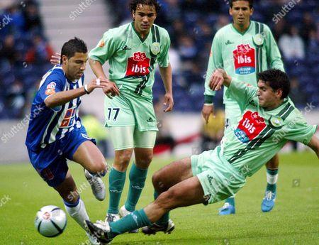 Fc Porto's Ricardo Quaresma (l) in Clashes with Ricardo Chaves of Setubal During the Super Liga Soccer Macth 16 April 2005 at Dragao Stadium in Porto Portugal Porto