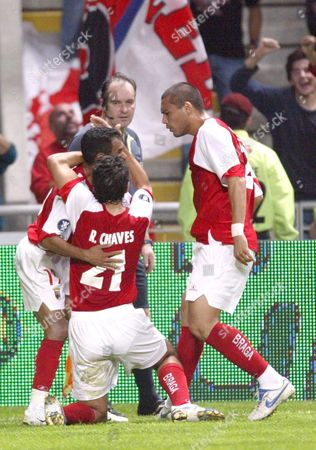 Sc Braga?s Ricardo Chaves (c) Celebrates with Unindentified Teammates After Scoring Against Sloban Liberec During Their Uefa Cup Soccer Match on Thursday 02 November 2006 at the Municipal Stadium in Braga Portugal Braga