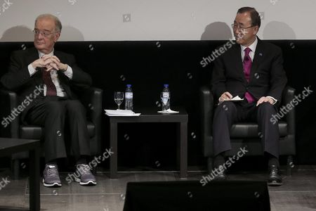 The United Nations Secretary-general Ban Ki-moon (r) and Former Portuguese President Jorge Sampaio During a Meeting with Syrian Students Living and Studying with in Portugal in Lisbon Portugal 12 May 2016 Portugal Lisbon