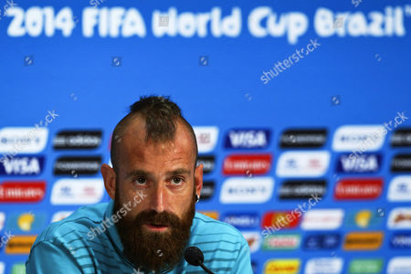 Portuguese National Soccer Team Player Raul Meireles Speaks During a Press Conference at the Arena Amazonia in Manaus Brazil 21 June 2014 Portugal Will Face the Usa in the Fifa World Cup 2014 Group G Preliminary Round Match in Manaus on 22 June 2014 (restrictions Apply: Editorial Use Only not Used in Association with Any Commercial Entity - Images Must not Be Used in Any Form of Alert Service Or Push Service of Any Kind Including Via Mobile Alert Services Downloads to Mobile Devices Or Mms Messaging - Images Must Appear As Still Images and Must not Emulate Match Action Video Footage - No Alteration is Made to and No Text Or Image is Superimposed Over Any Published Image Which: (a) Intentionally Obscures Or Removes a Sponsor Identification Image; Or (b) Adds Or Overlays the Commercial Identification of Any Third Party Which is not Officially Associated with the Fifa World Cup) Brazil Manaus