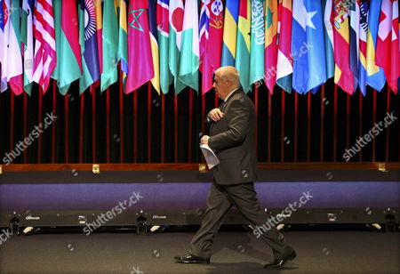 Stock Image of Outgoing Portuguese Finance Minister Fernando Teixeira Dos Santos Arriving For a Meeting at the Annual Meeting of the African Development Bank at the Congress Centre of Lisbon Portugal on 08 June 2011 Reports State That Business Leaders Government Representatives From 77 Countries and International Institutions Are Involved in the Annual Meeting of the African Development Bank Which Ends 10 June 2011 Portugal Lisbon