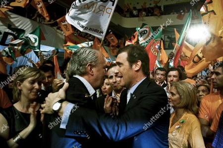 The Candidate For Government Elections For the Social Democratic Party Pedro Passos Coelho (r) Greets the Former President of the Party Pedro Santana Lopes (l) During a Pre Campaign Rally at Almada Portugal 21 May 2011 the Elections Will Take Place on June 5th Portugal Almada