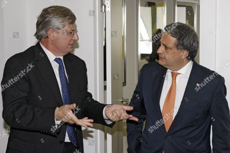 Portuguese Health Minister Paulo Macedo (r) and European Commissioner For Health and Consumer Policy Maltese Tonio Borg (l) Chat During Their Meeting in Lisbon Portugal 23 June 2014 Portugal Lisbon