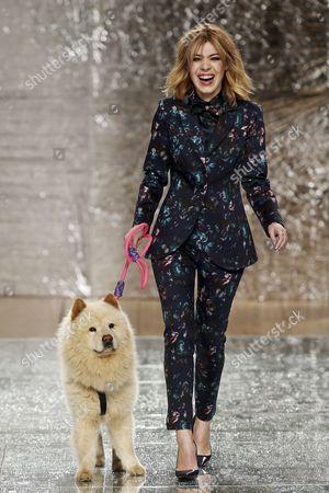 Portuguese Actress Raquel Strada with Her Dog Tufao Presents a Creation by Portuguese Designer Vicri During the Fourth Day of Portugal Fashion Fall/winter 2015/2016 in Porto Portugal 28 March 2015 Portugal Porto