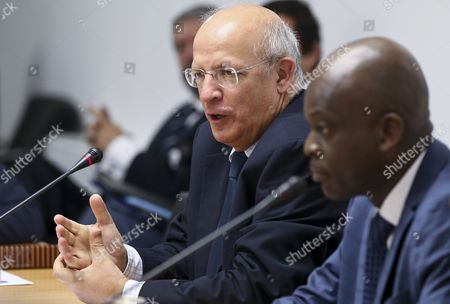 Portuguese Foreign Minister Augusto Santos Silva (l) Speaks at the Opening Cerimony of G7+ Friends of Gulf of Guinea Meeting As Togo's Foreign Minister Robert Dussey (r) Looks on in Lisbon Portugal 06 June 2016 Portugal Lisbon