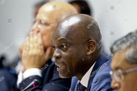 Togo's Foreign Minister Robert Dussey (c) Speaks at the Opening Cerimony of G7+ Friends of Gulf of Guinea Meeting As Portuguese Counterpart Augusto Santos Silva (l) Looks on in Lisbon Portugal 06 June 2016 Portugal Lisbon
