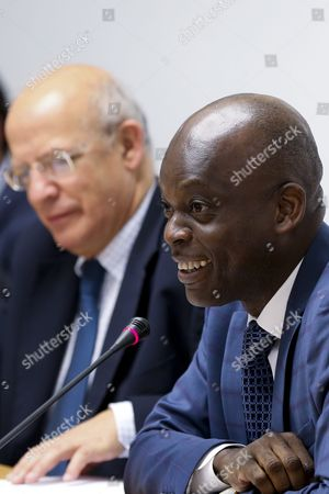 Togo's Foreign Minister Robert Dussey (r) Speaks at the Opening Cerimony of G7+ Friends of Gulf of Guinea Meeting As Portuguese Counterpart Augusto Santos Silva (l) Looks on in Lisbon Portugal 06 June 2016 Portugal Lisbon