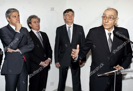 Stock Picture of (l-r) Portuguese Prime Minister Jose Socreates Spanish Culture Minister Cesar Antonio Molina and His Portuguese Counterpart Jose Antonio Pinto Ribeiro Listen to Nobel-laureate Portuguese Writer Jose Saramago Speaking During the Inauguration of the Exhibition About His Life in Ajuda Palace Lisbon Portugal 23 April 2008 Portugal Lisbon