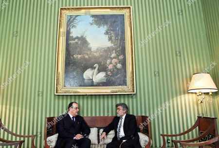 Portuguese Minister of Foreign Affairs Luis Amado (r) Meets with His Moroccan Counterpart Taieb Fassi-fihri at Necessidades Palace in Lisbon Portugal 23 February 2011 According to Media Reports the Moroccan Foreign Minister is in Portugal to Discuss Bilateral and Regional Issues Portugal Lisbon