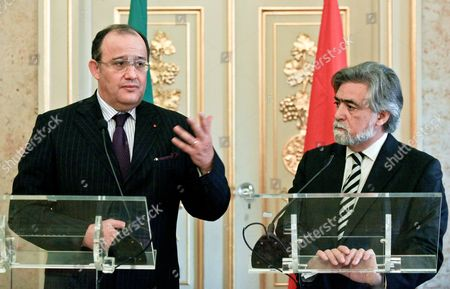 Portuguese Minister of Foreign Affairs Luis Amado (r) and His Moroccan Counterpart Taieb Fassi-fihri Speak to the Media During a Press Conference After Their Meeting at Necessidades Palace in Lisbon Portugal 23 February 2011 According to Media Reports the Moroccan Foreign Minister is in Portugal to Discuss Bilateral and Regional Issues Portugal Lisbon