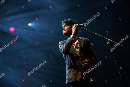 Lead Singer Zach Condon of Us Band Beirut Performs at the 'Paredes De Coura' Music Festival in Paredes De Coura Portugal 23 August 2014 the Event Runs From 20 to 23 August Portugal Paredes De Coura
