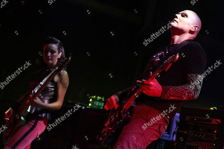Stock Image of Lead Singer Billy Corgan (r) and Bassist Nicole Fiorentino (l) of Us Band the Smashing Pumpkins Perform at the Mares Vivas Festival in Vila Nova De Gaia Portugal Late 18 July 2013 the Festival Runs Until 20 July Portugal Vila Nova De Gaia