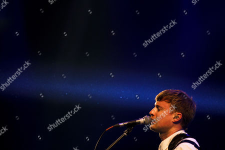 British Alternative Rock Band 'Django Django' Lead Singer and Guitarist Vincent Neff Performs in Concert at the Heineken Stage During the Last Day of the Optimus Alive Festival in Oeiras Portugal 14 July 2013 Portugal Oeiras
