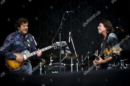 Portuguese Singer and Guitarist Rui Veloso (l) and Brazilian Singer and Guitarist Lenine Perform During the Second Day of the Rock in Rio Festival at Parque Da Bela Vista in Lisbon Portugal 29 May 2014 United Kingdom Lisbon