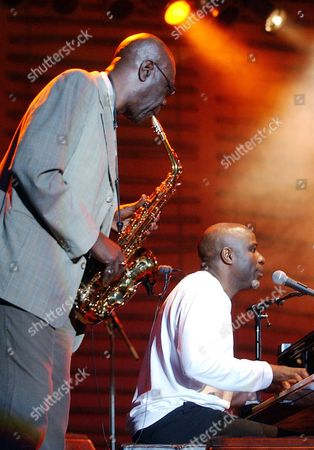 Camaron Manu Dibango (l) and Ray Lema From Congo Perform During the Rock in Rio Festival on Saturday 29 May 2004 Being Held in Lisbon Portugal Lisbon