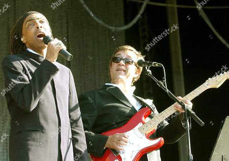 Brazilian Culture Minister and Singer Gilberto Gil (l) and Portuguese Music Star Rui Veloso Perform During the Rock in Rio Festival in Lisbon on Saturday 29 May 2004 Portugal Lisbon