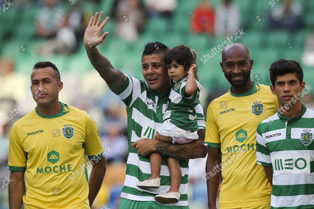 Sporting?s Players Marcos Rojo (2-l) Mahmoud Shikabala (2-r) Jefferson and Andre Martins (r) During the Team's Presentation Before Their Five Violins Cup Friendly Match Against S S Lazio Held at Alvalade Stadium in Lisbon Portugal 01 August 2014 Portugal Lisbon