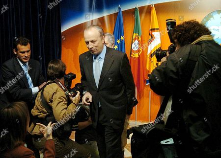 Portugese Social Democratic Party President and Former Prime Minister Pedro Santana Lopes Leaves a Press Conference After Announcing His Resignation As President of the Party at the Next Congress During His Party Meeting at the Party Headquarters Lisbon Tuesday 22 February 2005 Portugal Lisbon