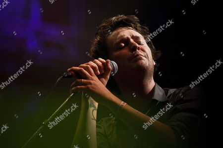 Lead Singer of the American Band Beirut Zach Condon Performs on Stage on the First Day of the Super Bock Super Rock in Meco Portugal 14 July 2011 Portugal Meco